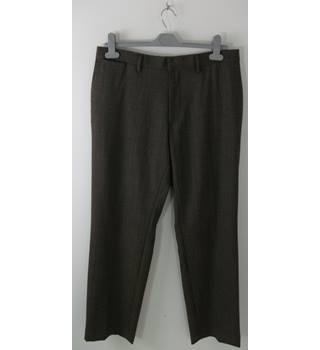 Banana Republic Brown Wool Check Straight Leg Trousers Waist Size 32