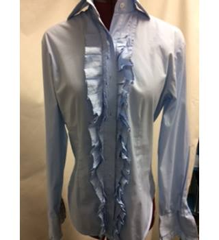 Brace Essentials  Blue blouse with frilled front and sleeves Brace - Size: 8 - Blue - Blouse