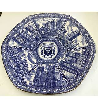 "11"" Blue and White Hexagonal ""Millennium"" Plate for Ringtons by Ware"