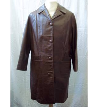 Richard Draper Glastonbury - Size: 14 - Brown - Vintage Leather Coat