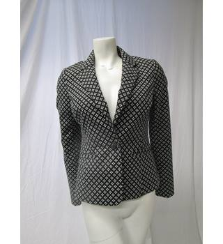 Debenhams Size 10 Black & White Patterned Blazer Debenhams - Size: 10 - Black