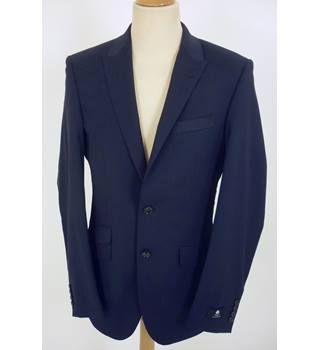 "M & S Kestin Hare Size: L, 42"" chest, tailored fit Navy Blue Dot Smart/Stylish Cotton Blend  Single  Breasted Jacket"