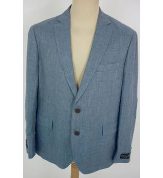 "M & S  Size: L, 44"" chest, tailored fit Air force Blue Mix Casual/Stylish Linen Blend Single  Breasted Blazer"