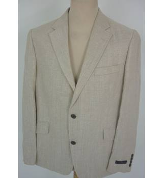 "M & S  Size: L, 42"" chest, tailored fit Neutral Brown & Gold Herringbone Casual/Stylish Linen Blend Single  Breasted Blazer"