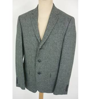 "M & S Size: M, 40"" chest, Slim fit Charcoal Grey & Black Mix Casual/Stylish Cotton & Linen Blend Single Breasted Jacket"