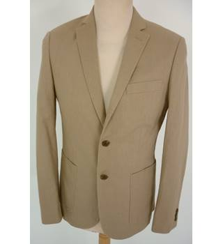 "M & S  Size: S, 36"" chest, slim fit Sand Brown Casual/Stylish Linen Blend Single  Breasted Jacket"