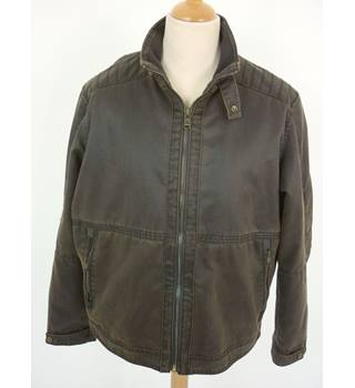 "M & S Size: L, 42"" chest Dark Brown Casual/Stylish Treated Cotton & Polyester ""Washed Pigment"" Harrington Jacket"