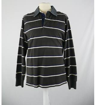 Marks & Spencer - Size: M - Brown Striped - Rugby Shirt