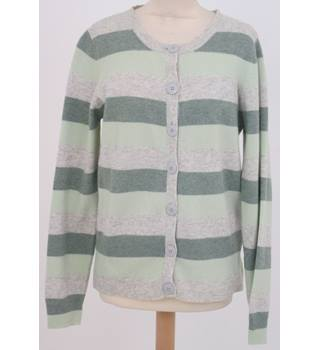 Unbranded, size M green striped lambswool cardigan