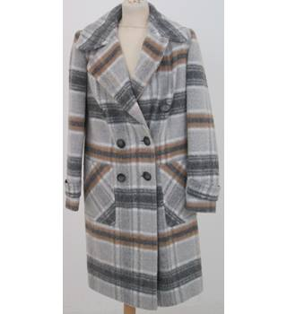 NWOT: M&S Size 8: Grey check mix wool blend overcoat