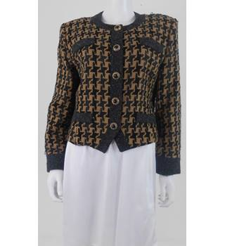 David Emanuel Size 16 Black & Gold Wool Blend Jacket