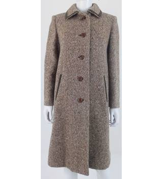 Vintage Eastex Size 14 1960s Brown & Beige Wool Coat