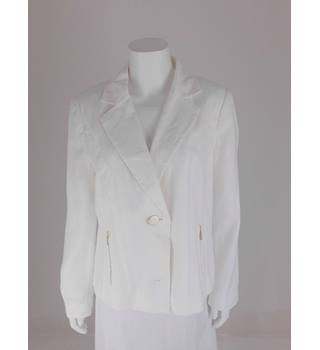 M&S Per Una Size 16 White Linen Jacket