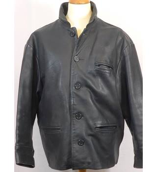 Vintage heavy black leather jacket by AMI London - Size: L - Black - Leather jacket