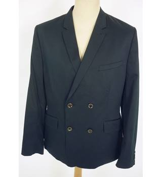 "Ted Baker Size: L, 42"" chest, tailored fit Dark Navy Blue Smart/Stylish Cotton Blend ""Balloon"" Double Breasted Blazer"