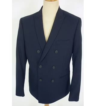 "M & S Size: M, 40"" chest, slim fit Navy Blue Casual/Stylish Wool Blend ""Stretch"" Double Breasted Jacket"
