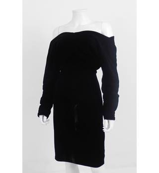 "Unbranded Black Velvet 40"" Chest Off The Shoulder Cocktail Dress"