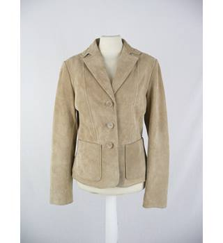 Vera Pele - Size: 12 - Sand - Suede Leather Jacket
