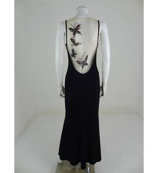Vintage 1990s Circa John Charles Size 10 Black Butterfly Embellished Evening Dress