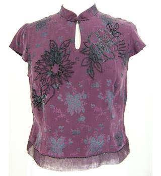 Monsoon - Size: 12 - Purple and Black: Silk Mix Beaded Top