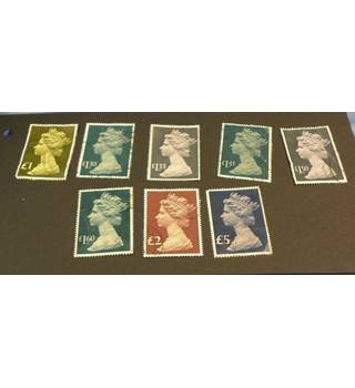 8 Good Used High Value Stamps: £1 - £5