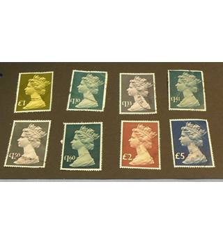 8 High Value Good Used British Stamps: £1 - £5