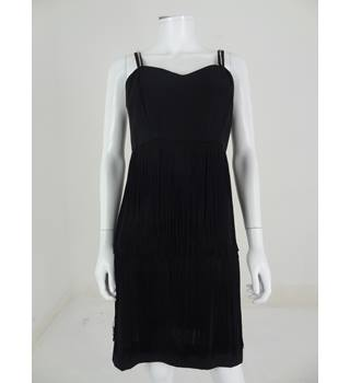 Vintage 1960s Circa Elizabeth Powers Couturiere Size 10 Little Black Tassel Dress with Diamante