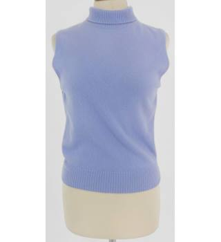 Brora Size 10 Lilac Sleeveless Cashmere Polo Neck Jumper