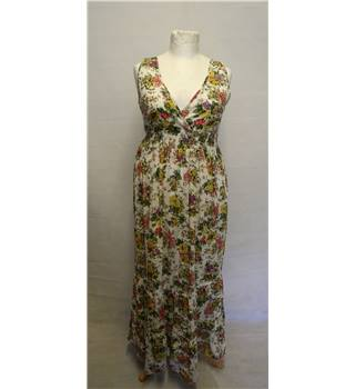 BNWT SHK MODE size L  cream with green and purple floral long dress