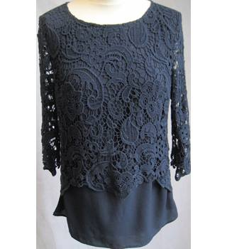 ADIVA - Size: M - Navy-Crochet front - Round Neck-3/4 Sleeve Top