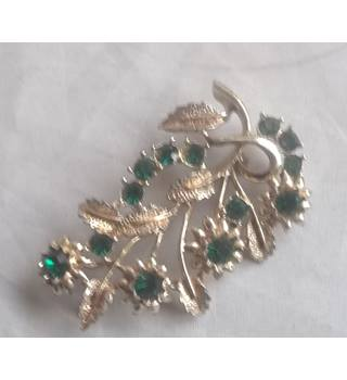 Gold Coloured Brooch With Green Stones