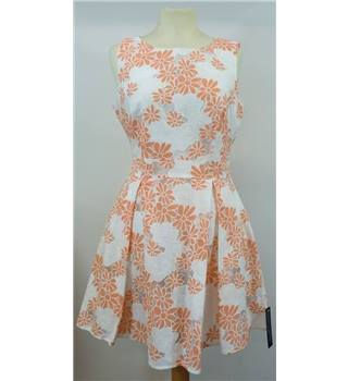 NWOT M&S collection size 10 petite cream and peach floral lace dress.