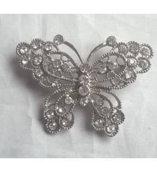 Silver Coloured Butterfly Brooch With Clear Stones