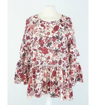 BNWT Marks & Spencer - Size: 12 - Red Floral - Ruffle Top