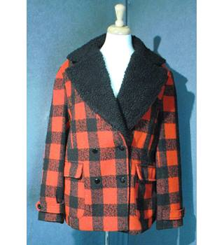 Tu - Size: 20 - Red and Black - Wool Coat