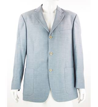 "M&S St Michael - Size: 42"" - Light Blue - Wool/Linen Mix - Single Breasted Suit Jacket"