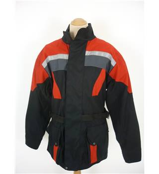 "Frank Thomas Size: L Black with Grey & Red Panels Design Motorcycle/Racing ""Aqua"" Cordura Armoured Jacket"