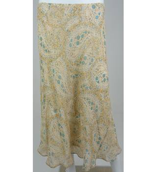 Marks & Spencer Collection CLASSIC Apricot/Turquoise/Beige Patterned Calf-Length Skirt UK Size 12 / Euro Size 40