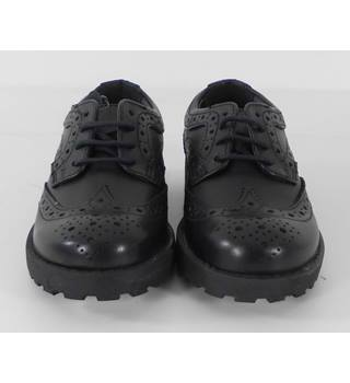 M&S Size: 8 Black Girls Kids Lace-up Leather Shoes