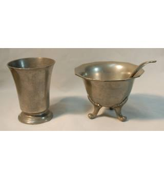 FRENCH PEWTER ETAIN FIN SUGAR BOWL, OCTAGONAL SPOON AND CHALICE WITH CROWNED ROSE HALLMARK