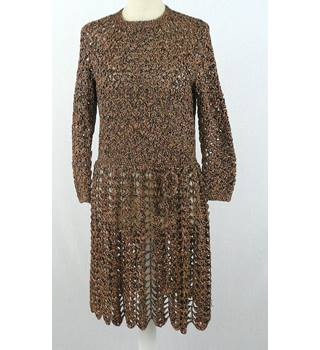 1970's - approx size 12 - home crochet mini dress - copper metallic/beige/brown mix