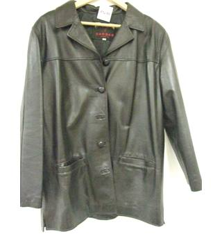 SARDAR - Size: 14 - Black Genuine Leather Smart jacket / coat