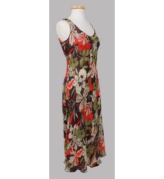 WARDROBE-  Colour: Flower Pattern - Mixture Orange/Brown/Green -  Full Length Ladies All Occasion Dress - Size: 12 UK
