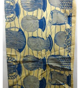 African Waxed Cotton Textile Fabric - Beige, Gold, Blue