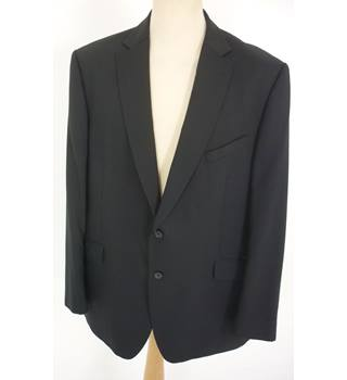 "M & S Size: Jacket, XL, 48"" chest, reg fit & Trousers, 40"" W, 31"" L Black Stylish Wool Blend ""Performance ""Single Breasted Suit"