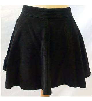 Denim & Co - Size: 10 - Black Cord - Ladies' Skater Mini Skirt