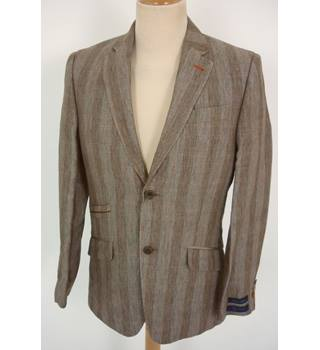 "Ted Baker Size: S, 36"" chest, trd fit Grey, Blue & Yellow Stripes Stylish ""Tight Lines""  Italian Linen Single Breasted Blazer"