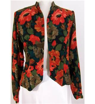 Planet - Size: 10 black with red, green and brown floral print blouse