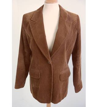 "Equation  Size: 10, 34"" chest, tailored fit Russet Brown Casual Cotton & Polyester Blend Corduroy Single Breasted Jacket"