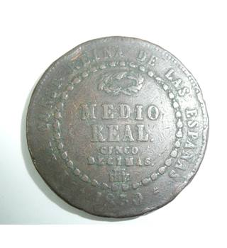 Spain 1850 Medio Real Coin